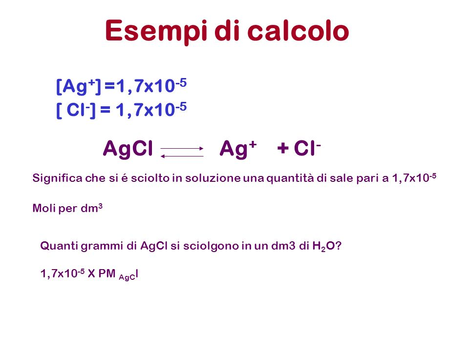 Esempi di calcolo AgCl Ag+ + Cl- [Ag+] =1,7x10-5 [ Cl-] = 1,7x10-5